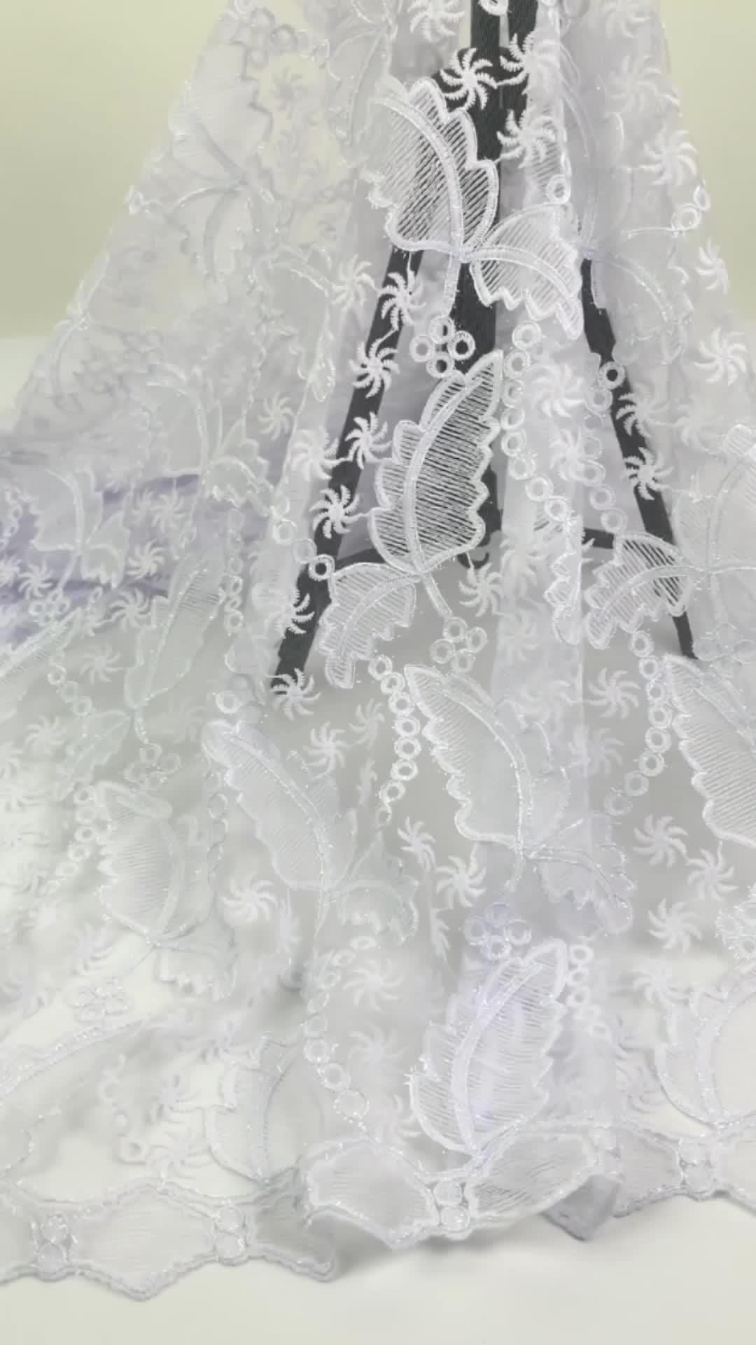 नई डिजाइन सफेद फ्रेंच शुद्ध फीता कपड़े उच्च गुणवत्ता के लिए 2020 अफ्रीकी Tulle फीता कपड़े शादी की पोशाक 1812