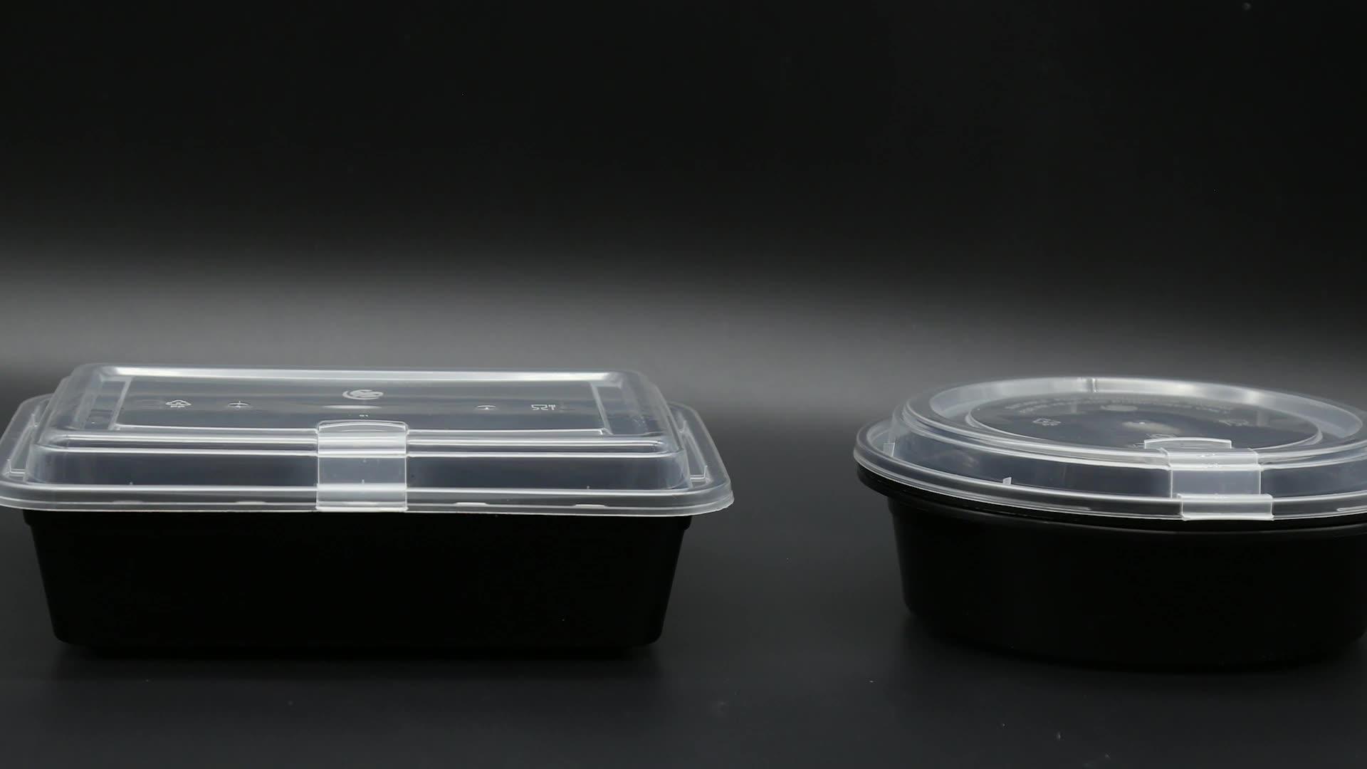 اثنين من المقصورات يمكن التخلص منها وعاء من البلاستيك يسلب عبوة طعام مع غطاء