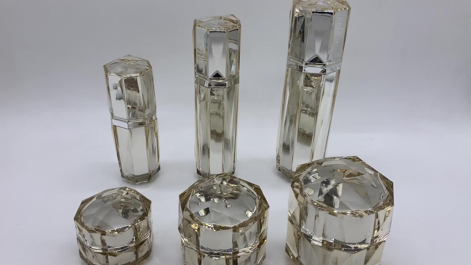 Высококачественная Серебристая акриловая бутылка 15 г 30 г 50 г 30 мл 50 мл 100 мл