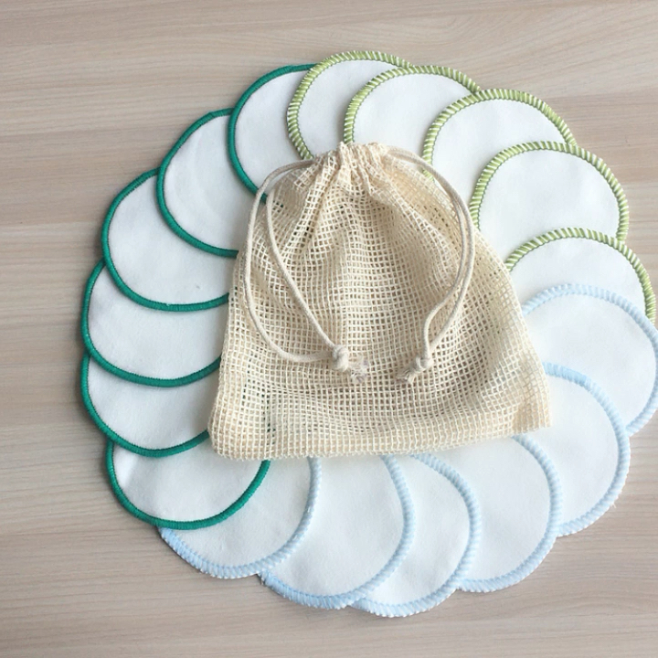 Hot Selling Bamboo Velour  Eco Reusable Washable Make-up Removal Pads