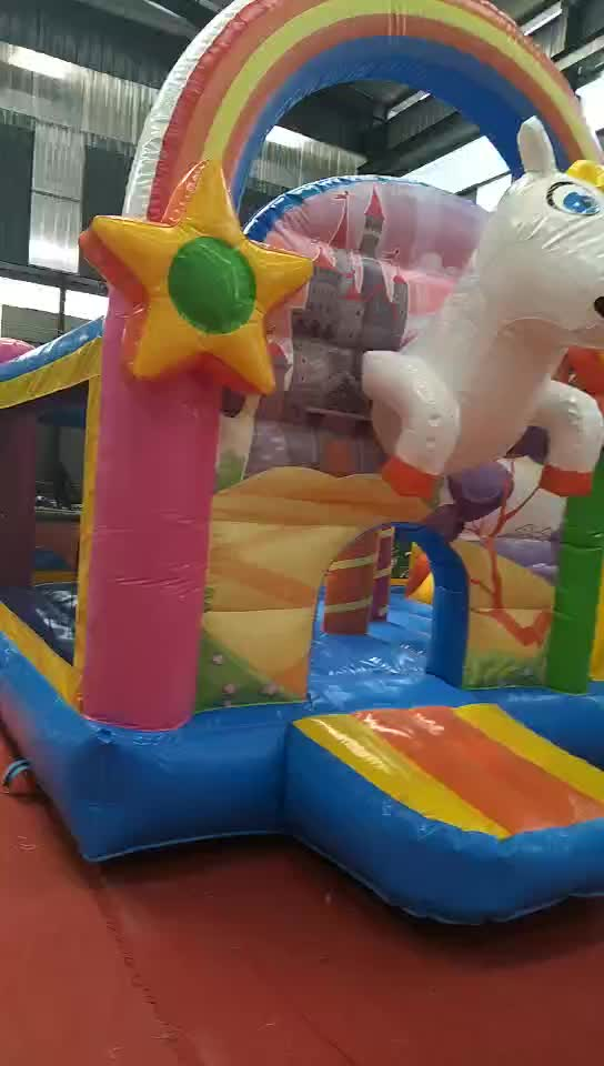 Unicorn jumping castle inflatable bouncer slide combo with air blower