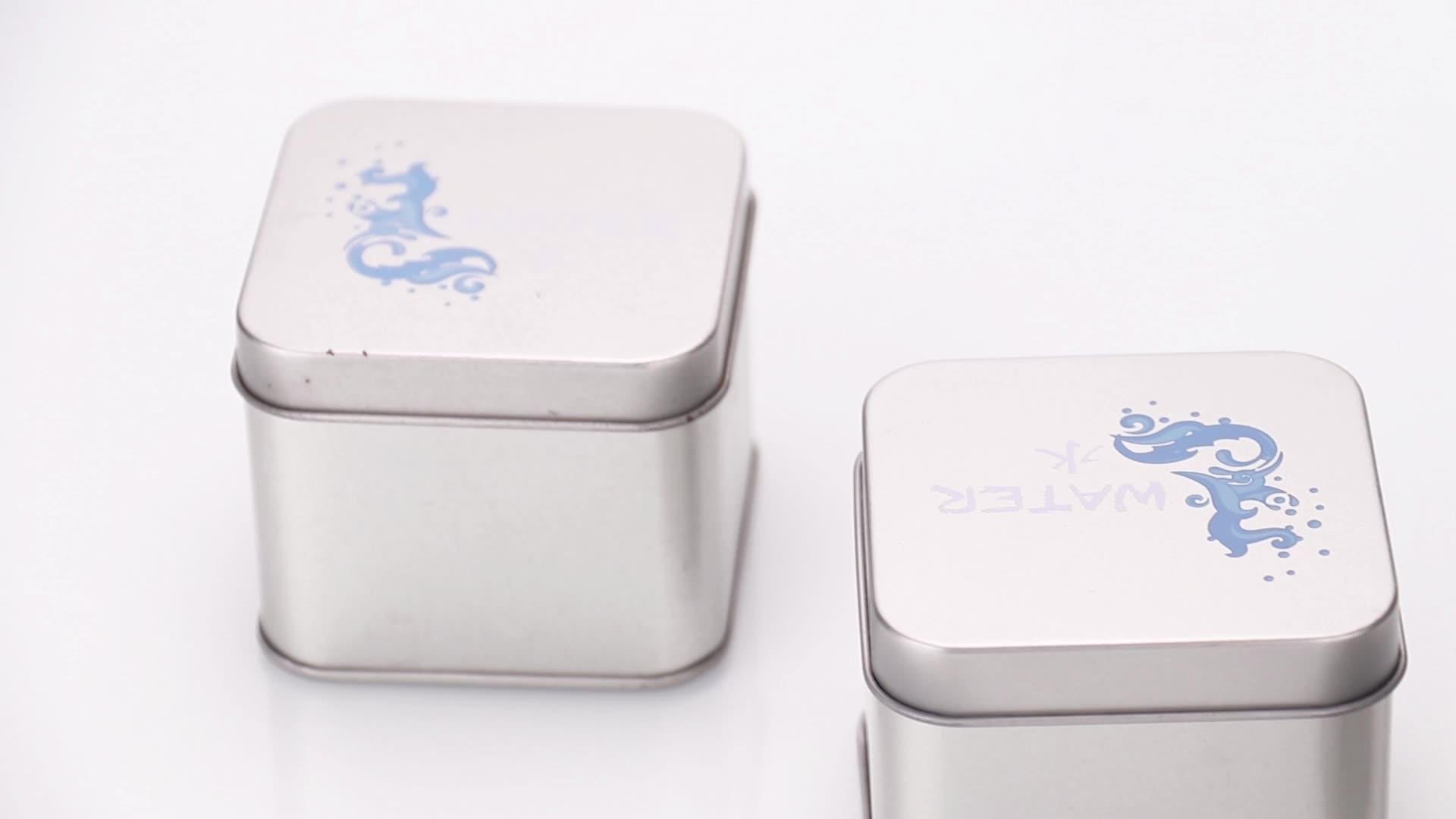 カスタマイズされたデザイン正方形小さな金属スズボックス、スズ包装小物部品収納、茶錫ケース