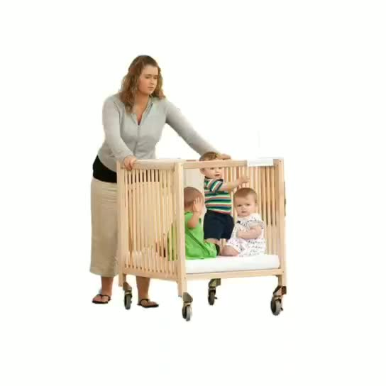 Solid Sleeping Room Safety Kids Wood Bed With Wheels Baby