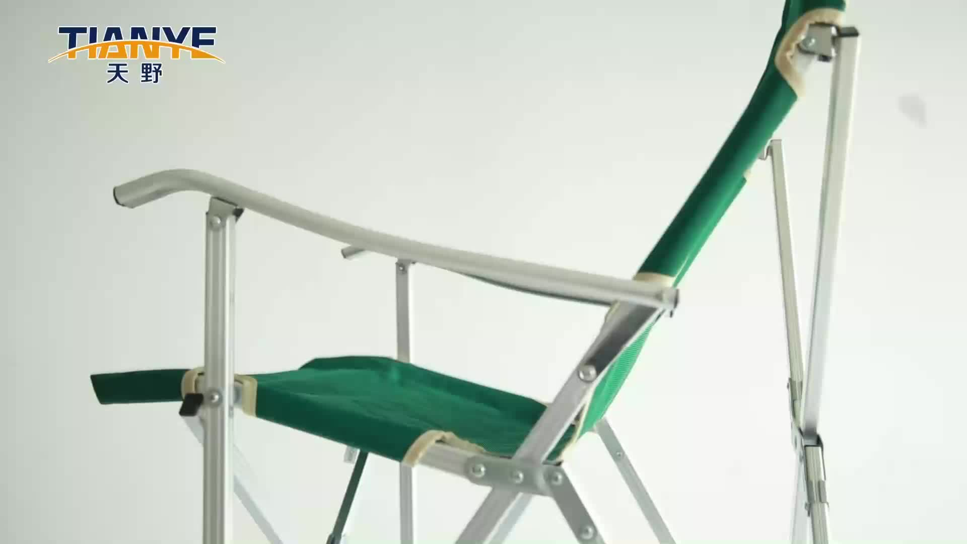 Tianye beach chair detachable camping chair aluminium breathable extended folding fishing chair with cup holder in green