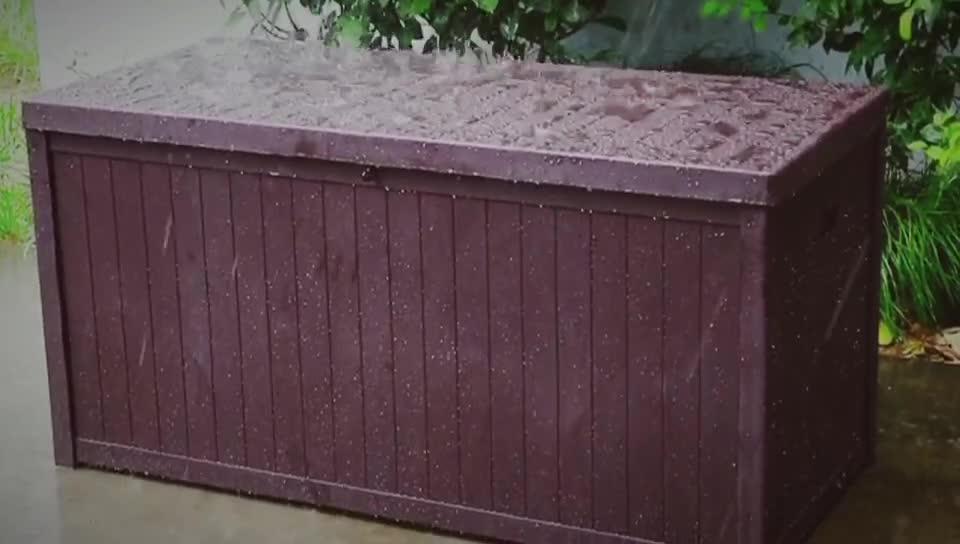 113Gal Waterproof Bench Deck Box Garden Plastic Outdoor Storage Box with Hydraulic Gas Strut Lift