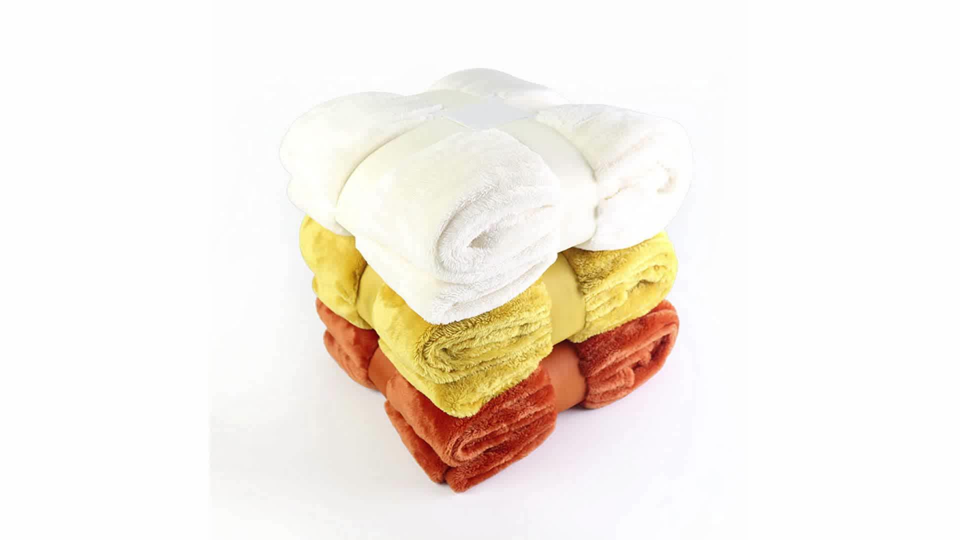 Super Lembut Poliester 100% Plush Fuzzy Sofa Ranjang Polos Flanel Fleece Selimut