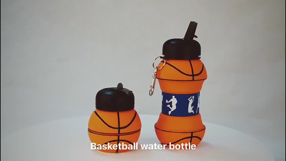 New Products Custom Logo Folding Silicone Water Bottle With Wide Mouth
