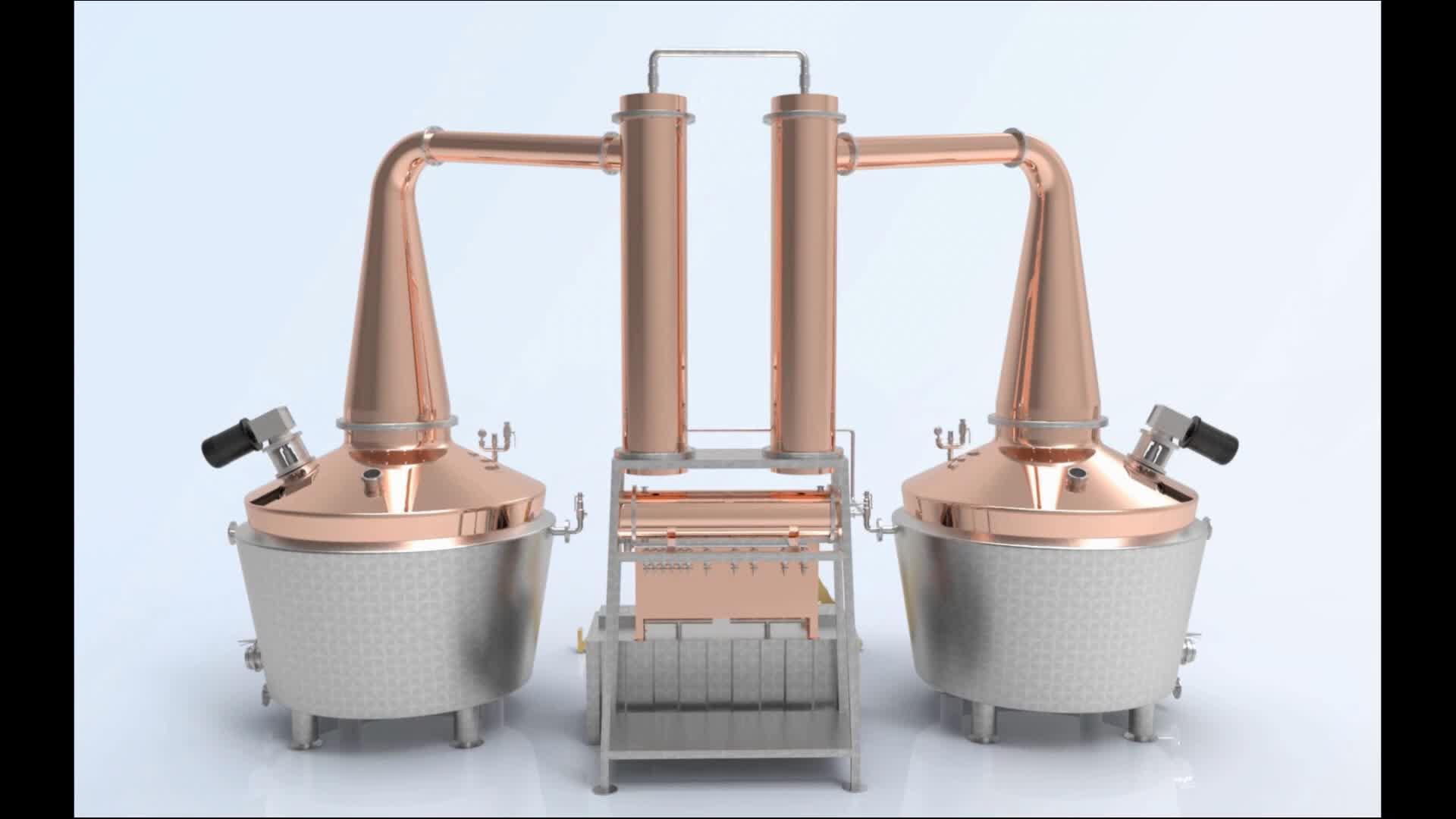 [JiangMan]-3000L-Whiskey Distillery-Grano Distillery Attrezzature-Pentola di Rame Distillatore-Single Malt Singolo Barile di Whisky ancora