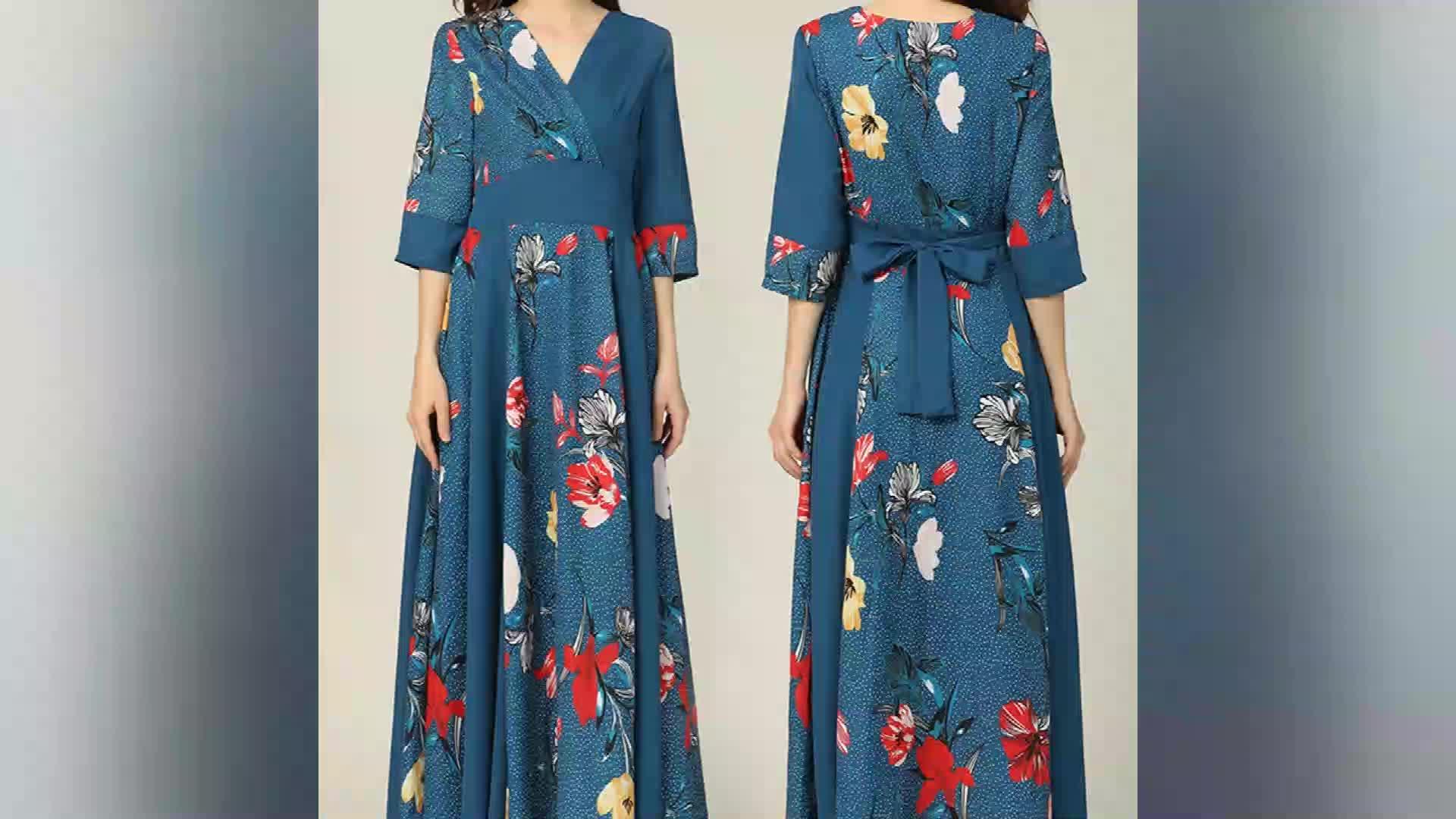 2020 printemps et automne nouvelles femmes dames Coréennes mode bleu robe longue imprimée