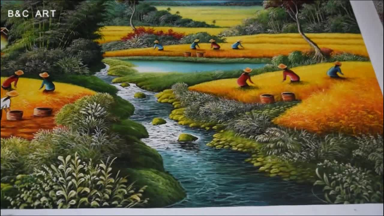 Handmade Traditional Asian Art Harvest Scenery Rice Field Canvas Oil Painting