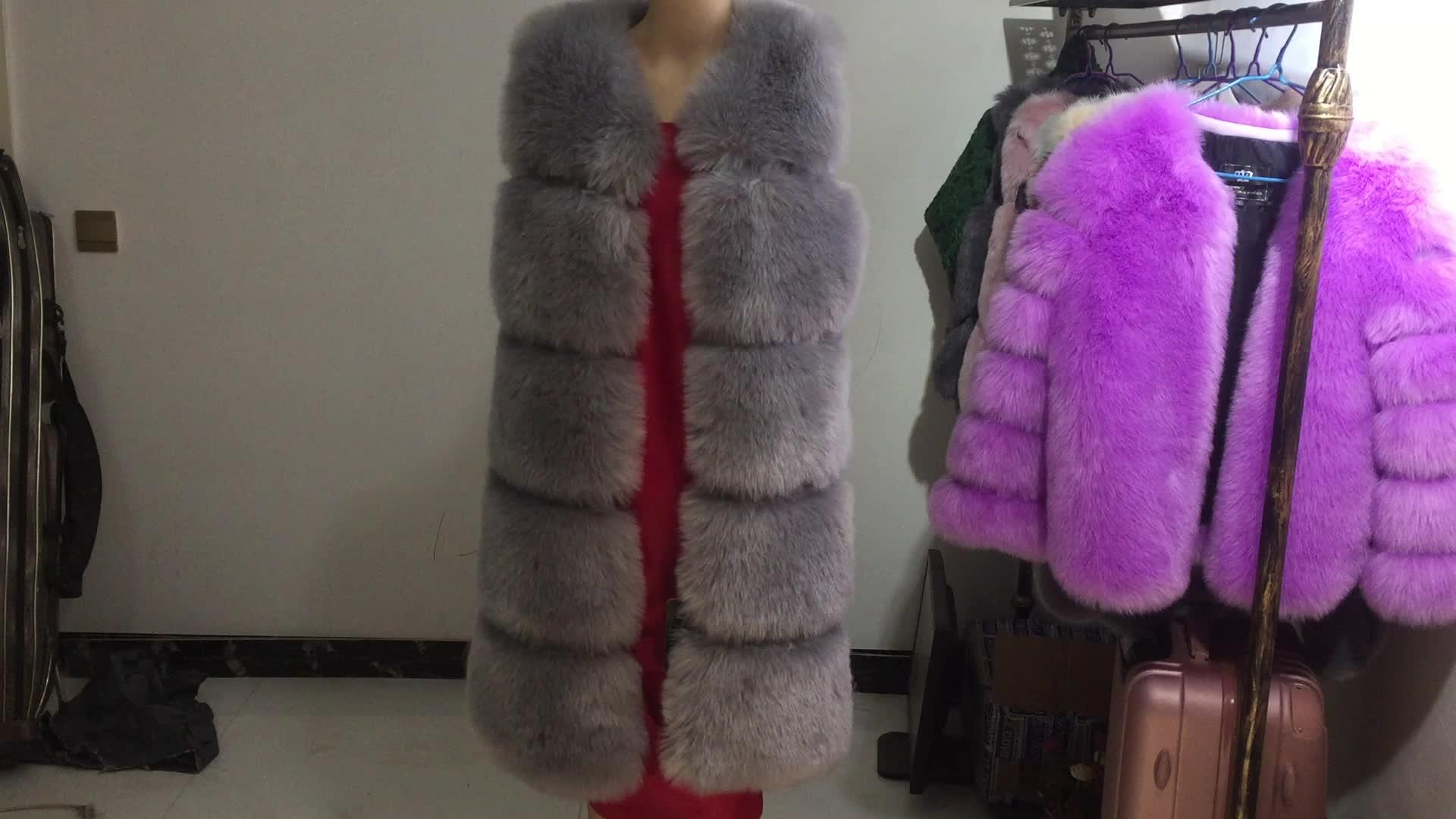 खरगोश फर बनियान 90 लंबाई लेडी लंबी शैली कोट के साथ कम कीमत