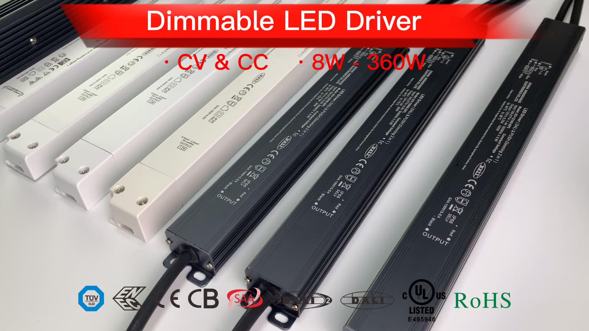 Slim led driver DALI push dim 40W constant current 500ma 700ma 900ma 1050ma led driver