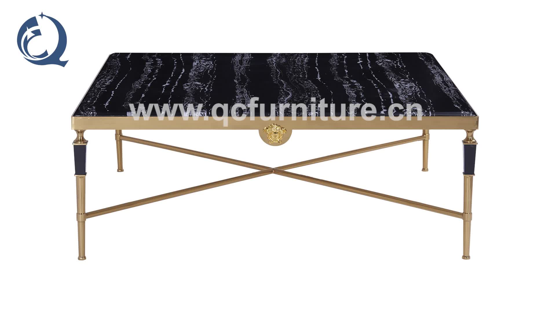 Luxury Living Room furniture Marble Top Golden stainless steel leg  Coffee Table