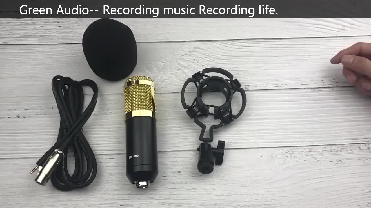 BM-800 Green Audio Microphone Recording Dynamic Condenser Microphone with Shock Mount With Scissor Stand Filter