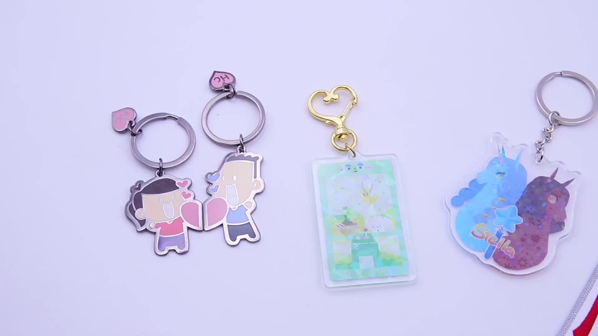 شعار مخصص لطيف أنيمي شكل البلاستيك واضح الاكريليك سلسلة مفاتيح سحرية للبيع بالجملة