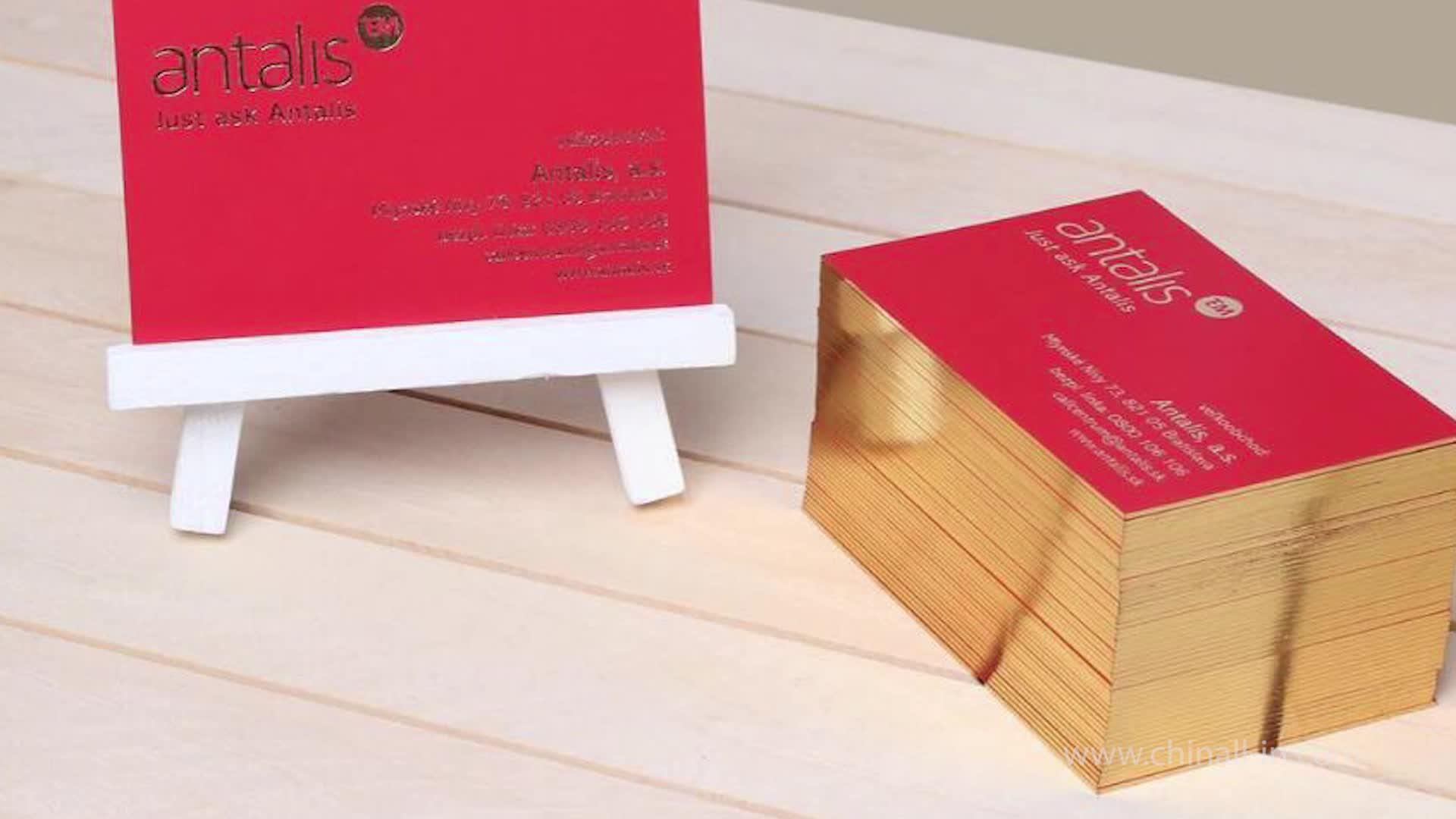 Parlak altın isı transferi folyo baskı damgalama kağıt kartvizit