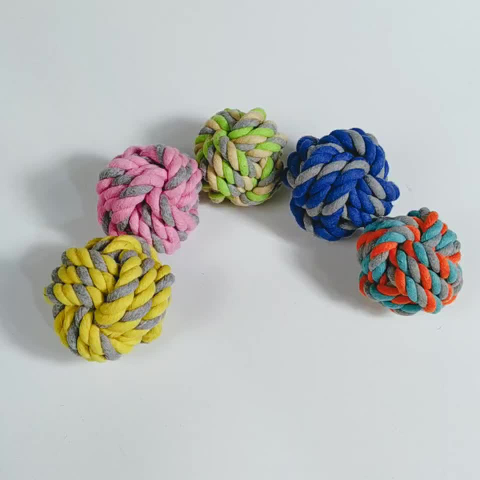 Wholesale Braided Cotton Rope Ball Dog Toy Teeth Cleaning Chew Toys