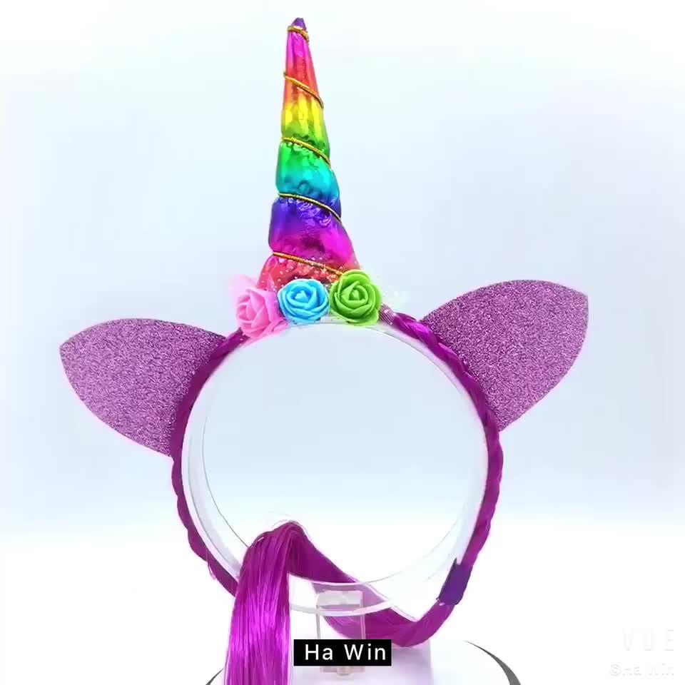 Operato A Mano Corno di Unicorno Disegno Floreale Fascia Del Bambino, bambini Party Princess Fasce