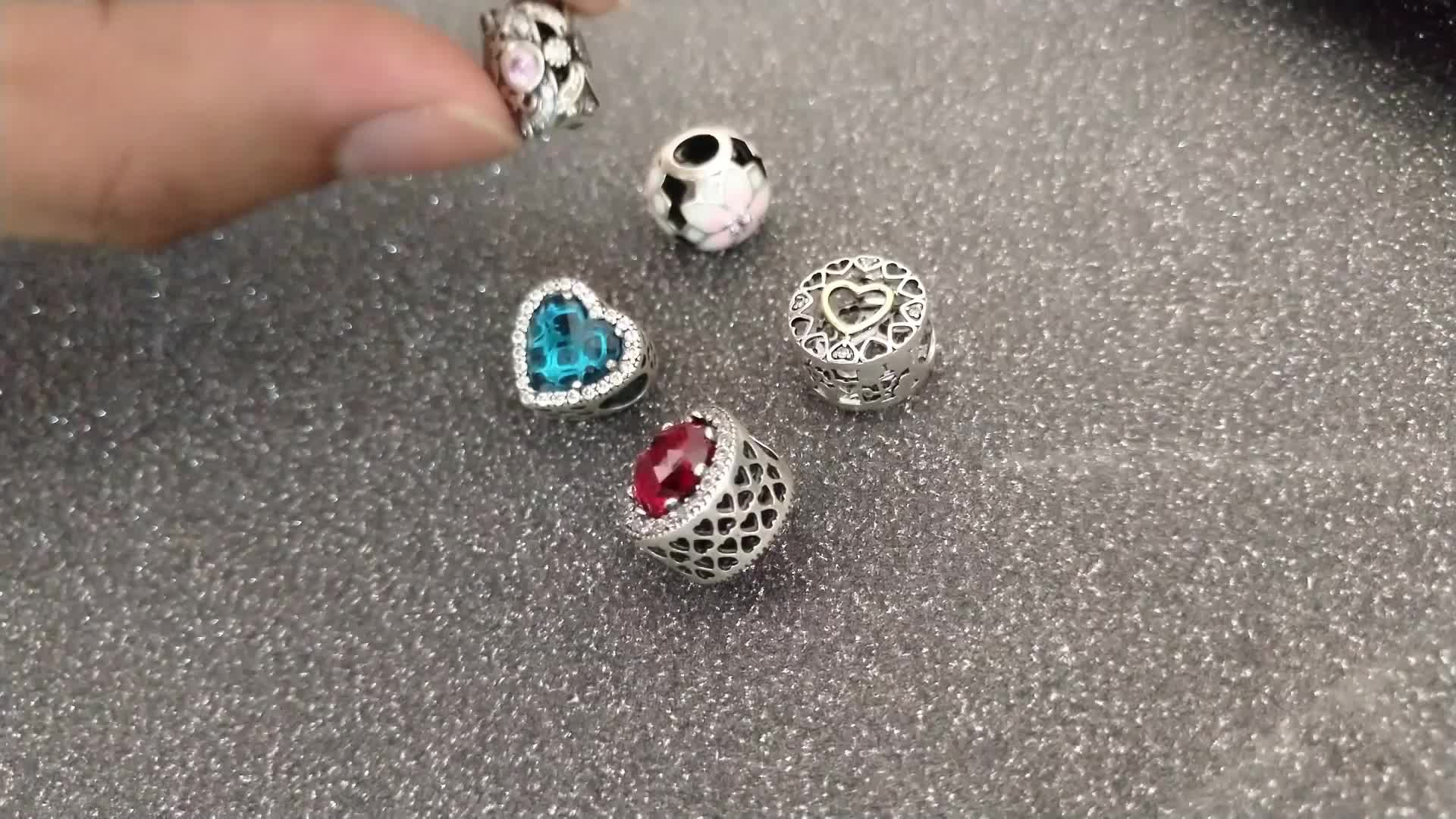 Wholesale Loving Heart Shape Beads Pave AAA Cubic Zirconia Real 925 Sterling Silver Mom Charms