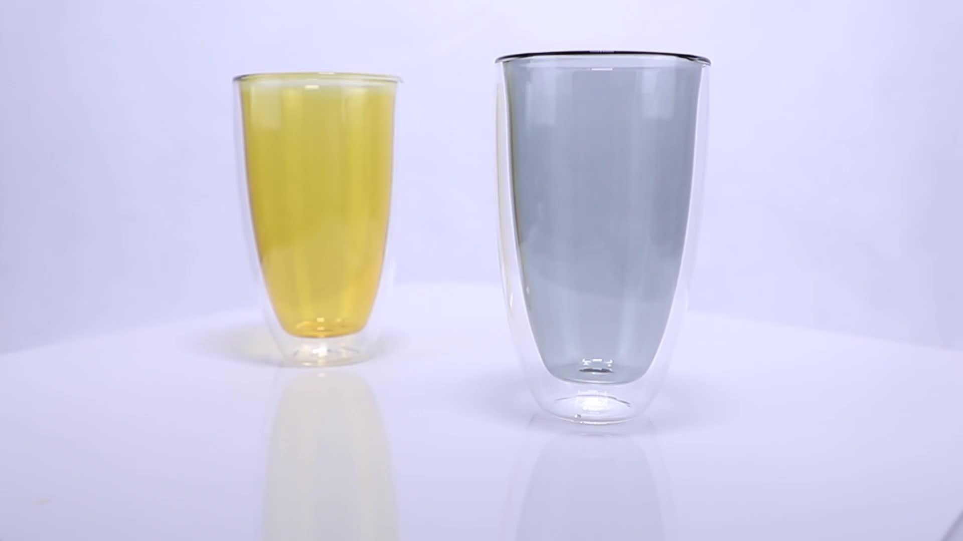 Fatto a mano soffiato vetro infrangibile borosilicato a doppia parete tazza di vetro per bere il tè e caffè