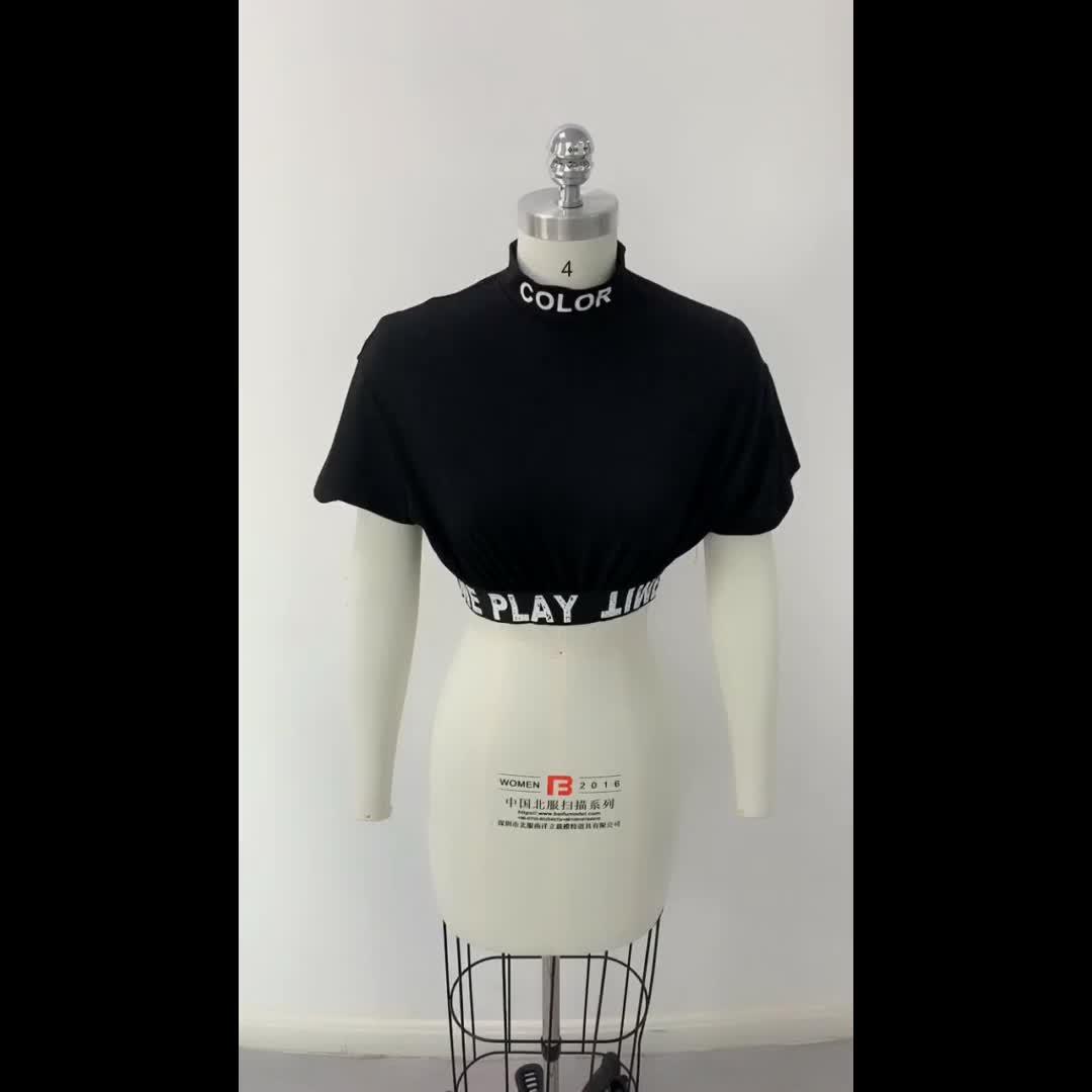 Großhandel frauen damen high neck shirts frauen casual schwarz crop tops