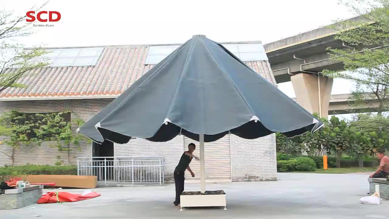 Dia 7m 6*6m Outdoor Customized Size Heavy Duty Giant Parasol with LED lights