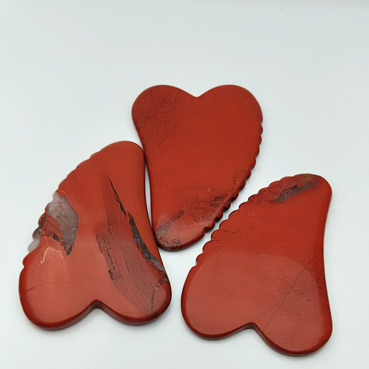 Heart Shaped Red Jasper Stone Gua Sha Scraping Massage Tool