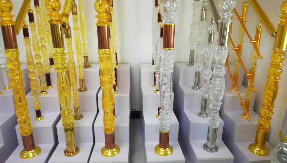 decorative indoor pmma colored clear acrylic baluster pillar stair