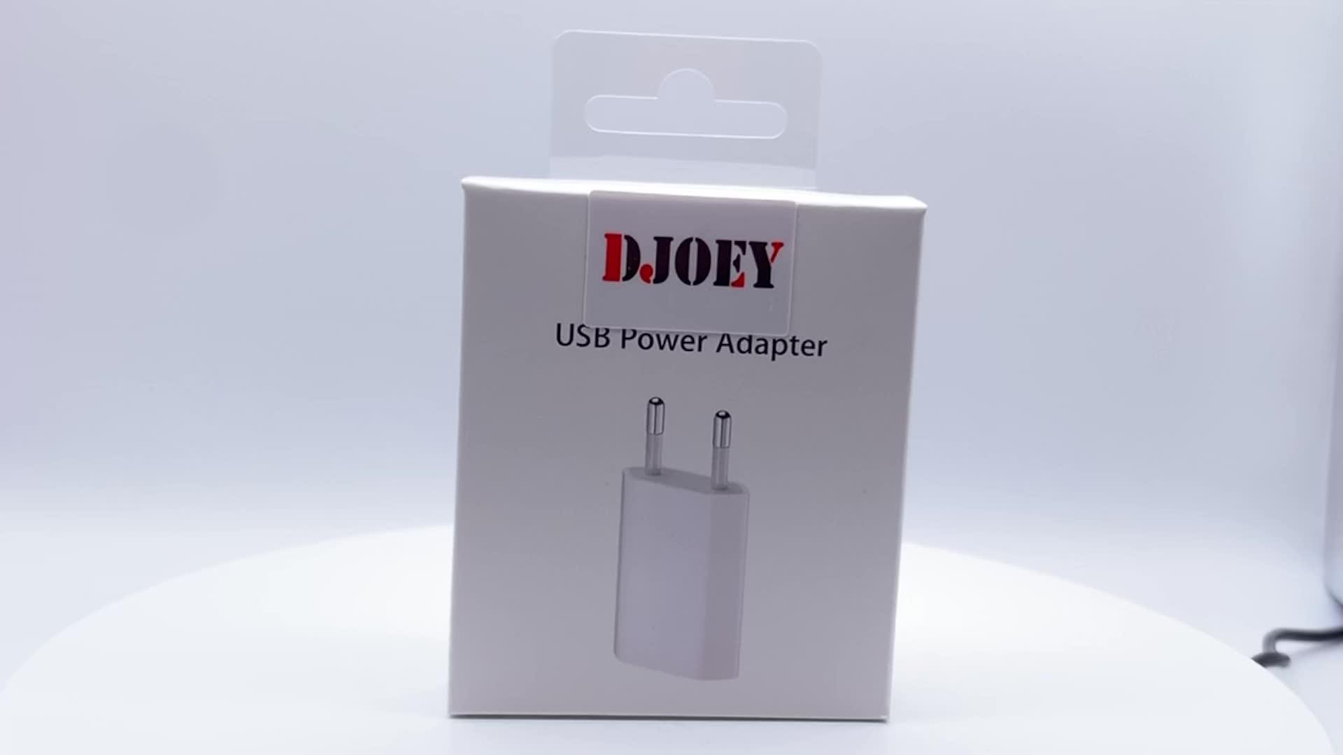 Djoey Orijinal Kalite USB Güç Adaptörü A1400 5 W AB Tak USB Duvar Ev iphone şarj cihazı 6 6 s 7 8 artı X MD813 ambalaj ile