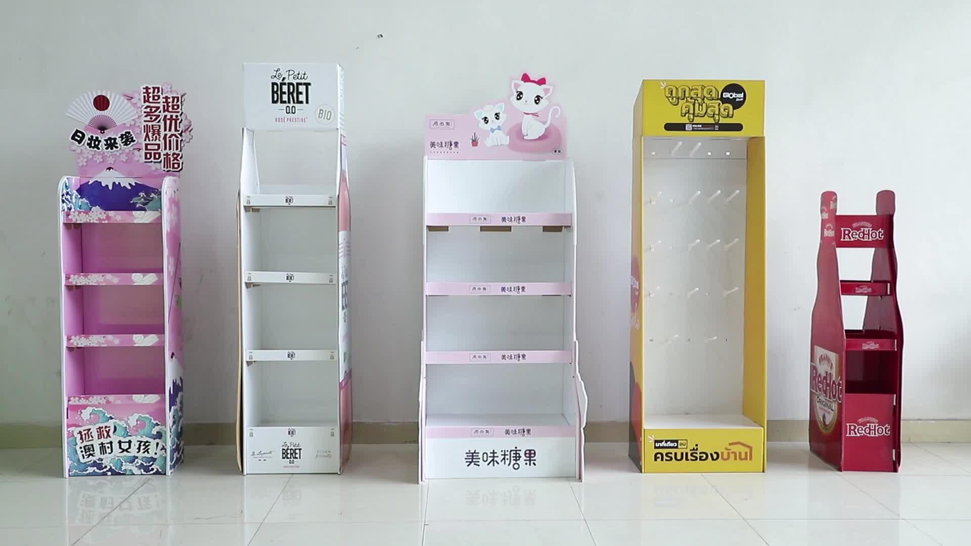 LED אור דוכן תצוגת קרטון, עמיד למים קידום נייר תצוגת Stand עם תאריך רצועת מחיר, אלקטרוני נייר מדף תצוגה