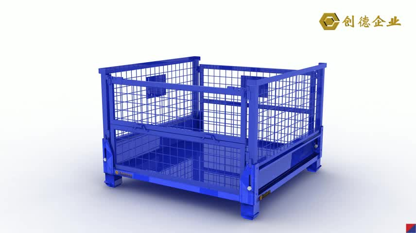 Chairborne Foldable Box Stacking Pallet Cage Wire Mesh Steel Pallet Container