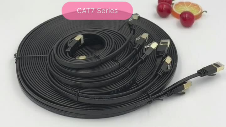 Glory factory competitive price ethernet cable rj45 sftp falst black cat7 patch cable cord