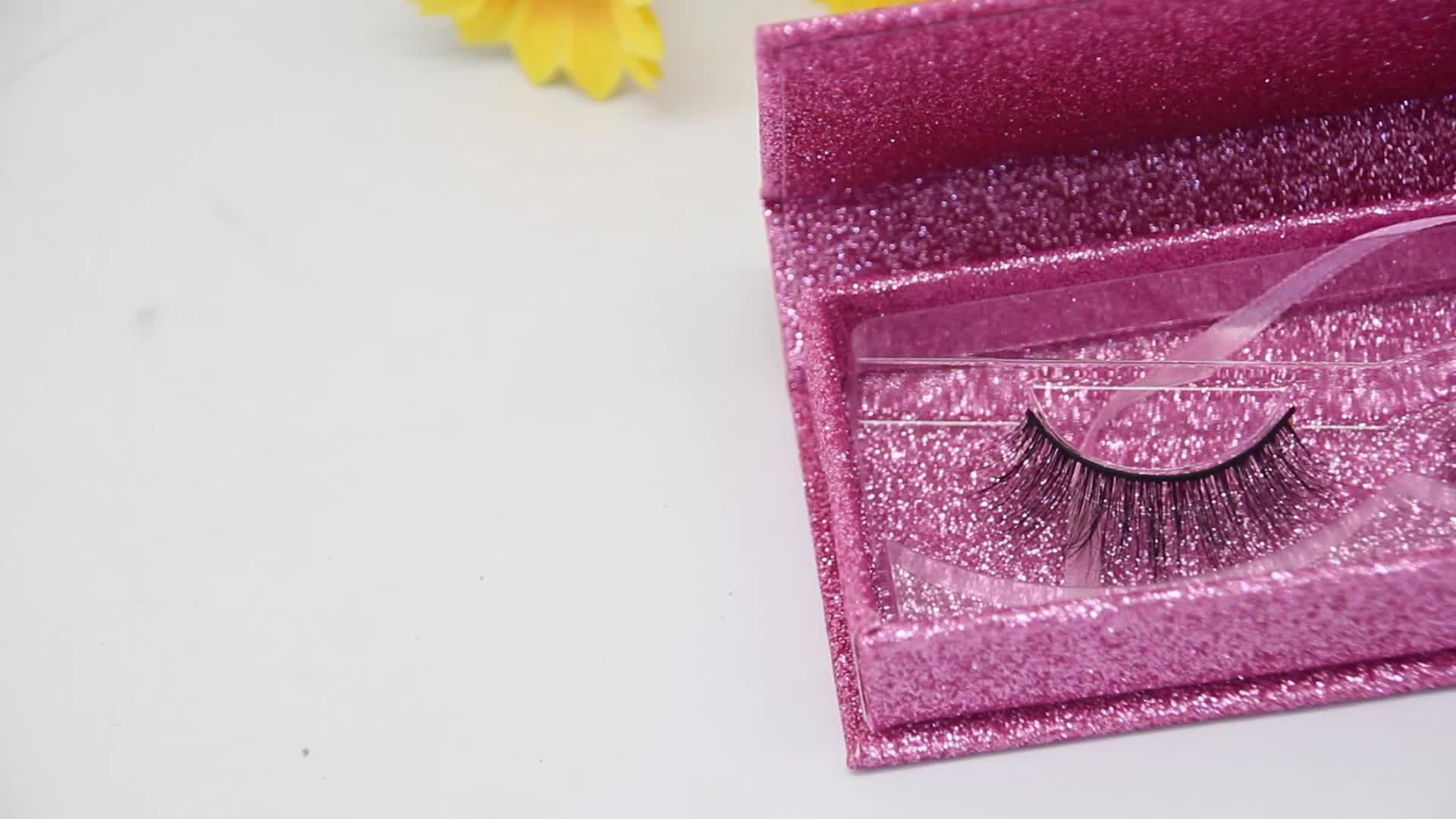 ขนตาสีชมพูบรรจุภัณฑ์กล่องฉลากส่วนตัวขนตากล่องบรรจุภัณฑ์สำหรับ mink eyelashes