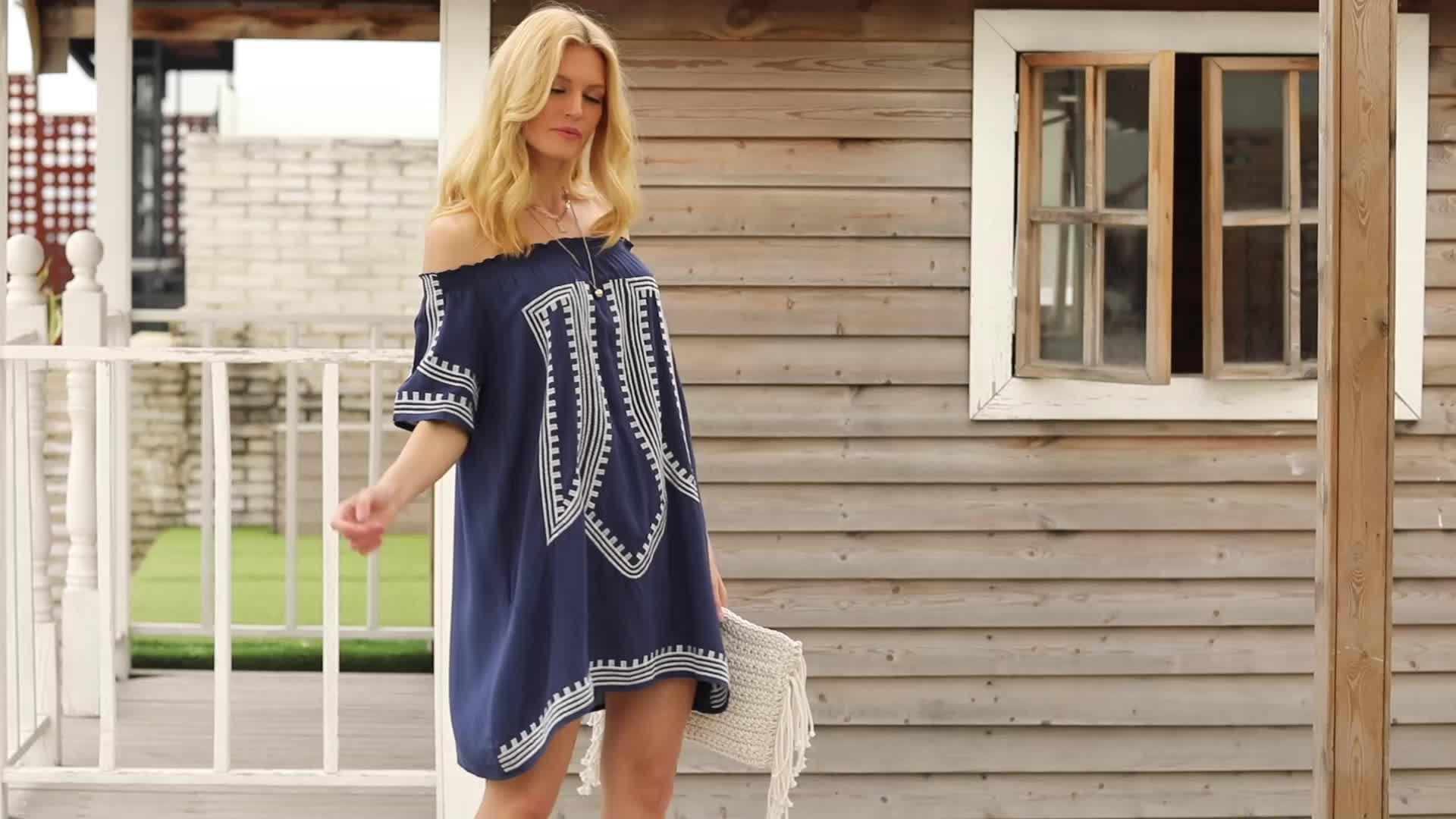New Arrival Bohemian Vibe Geometric Print Off The Shoulder Beach Dress Beachwear Cover Up