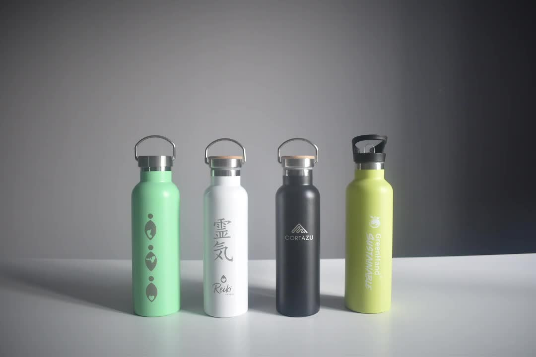 Wholesale Custom Logo Stainless Steel Sports Drink Water Bottle with Bamboo Lid