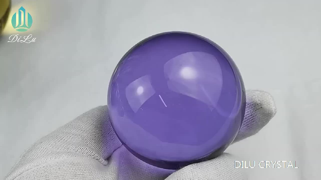 DILU K9 Colorful Real Purple Crystal Ball 60mm 80mm 100mm /Solid Red Pink Crystal Ball /Blue Green Glass Sphere Crystal Ball