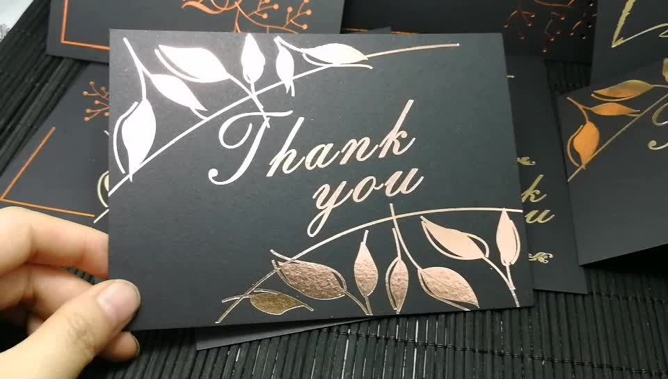 High Quality Hot Stamp Silver Foil/Gold foil Cards Thank You Cards Greetings Cards