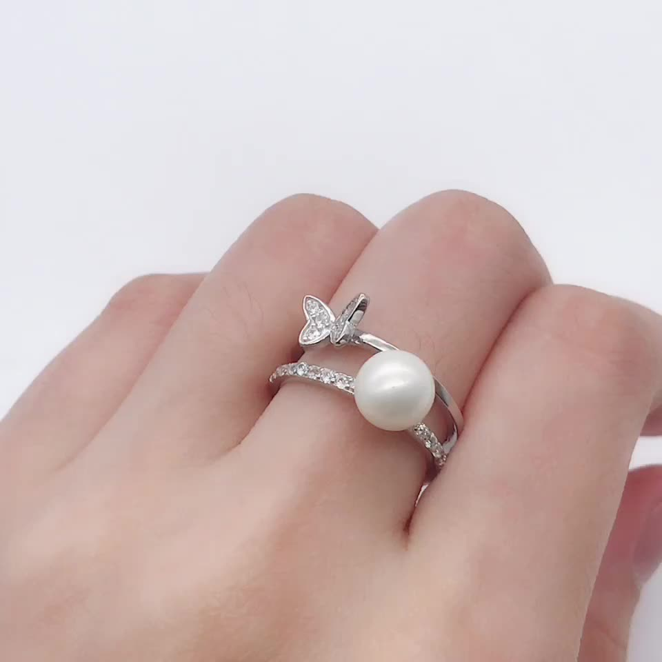 Wholesale custom pearl ring mountings charming silver ring designs for girl