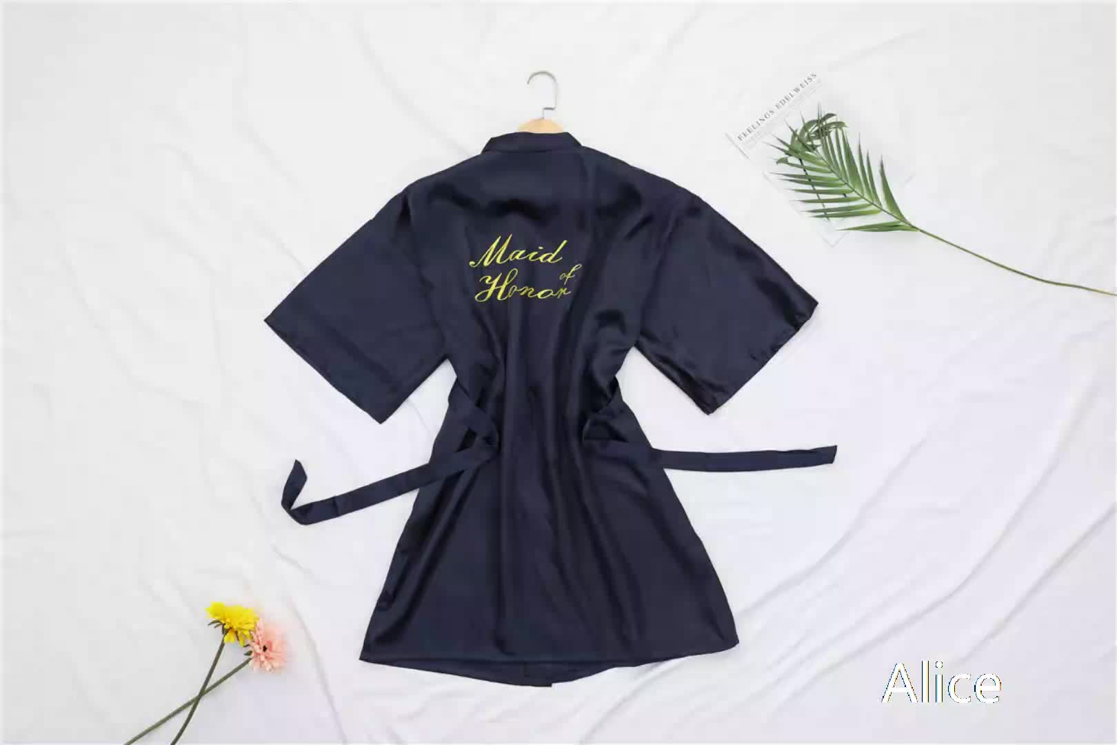 night gown satin robes women Wholesale   morning weared robes wedding makING up embroidery words soild robes