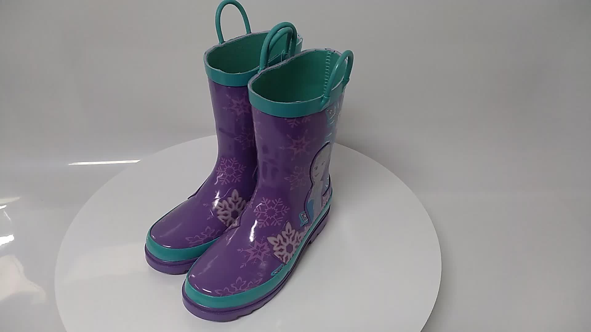Ice queen print cheap kids boys girls rubber rainboots for kids