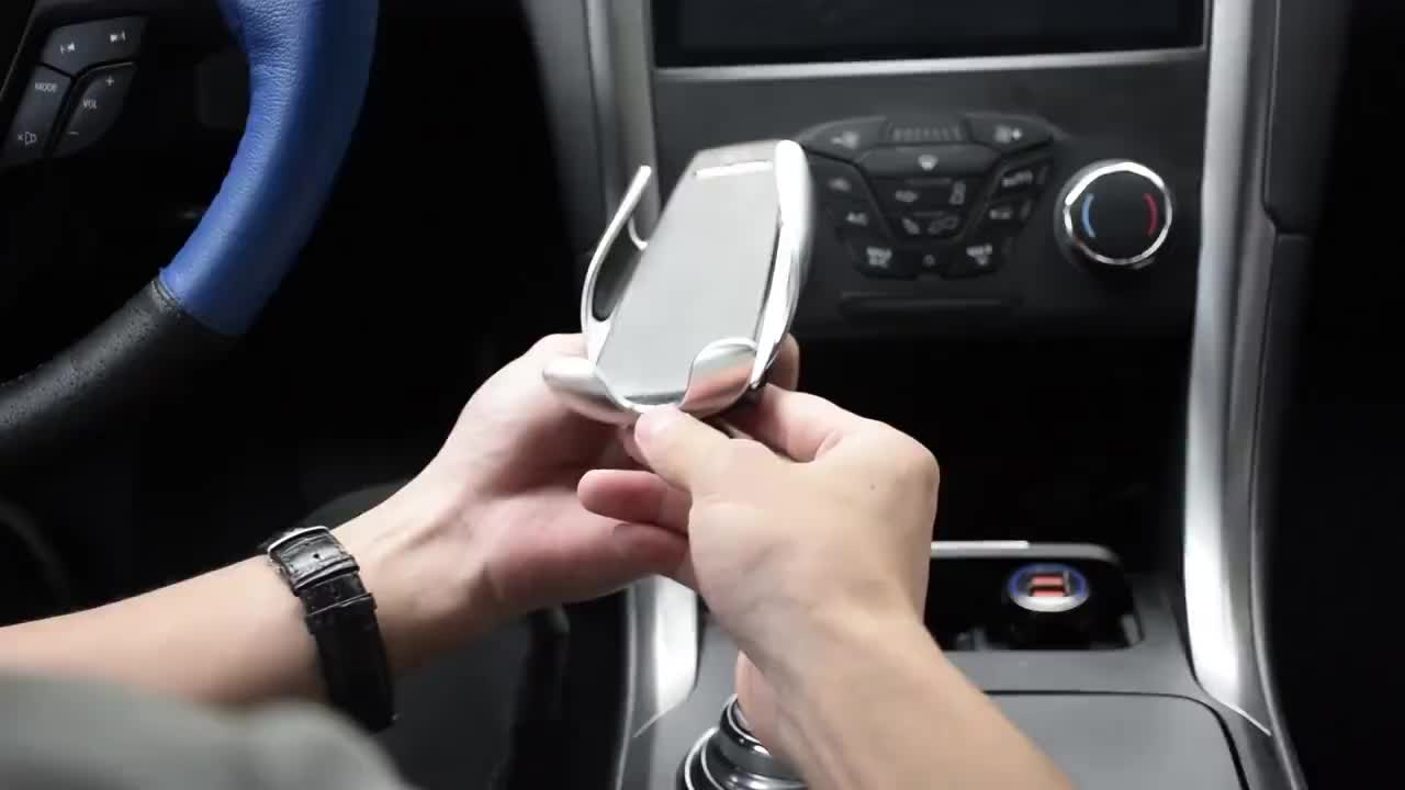 automatic wireless clamping sensor car phone holder and charger mount
