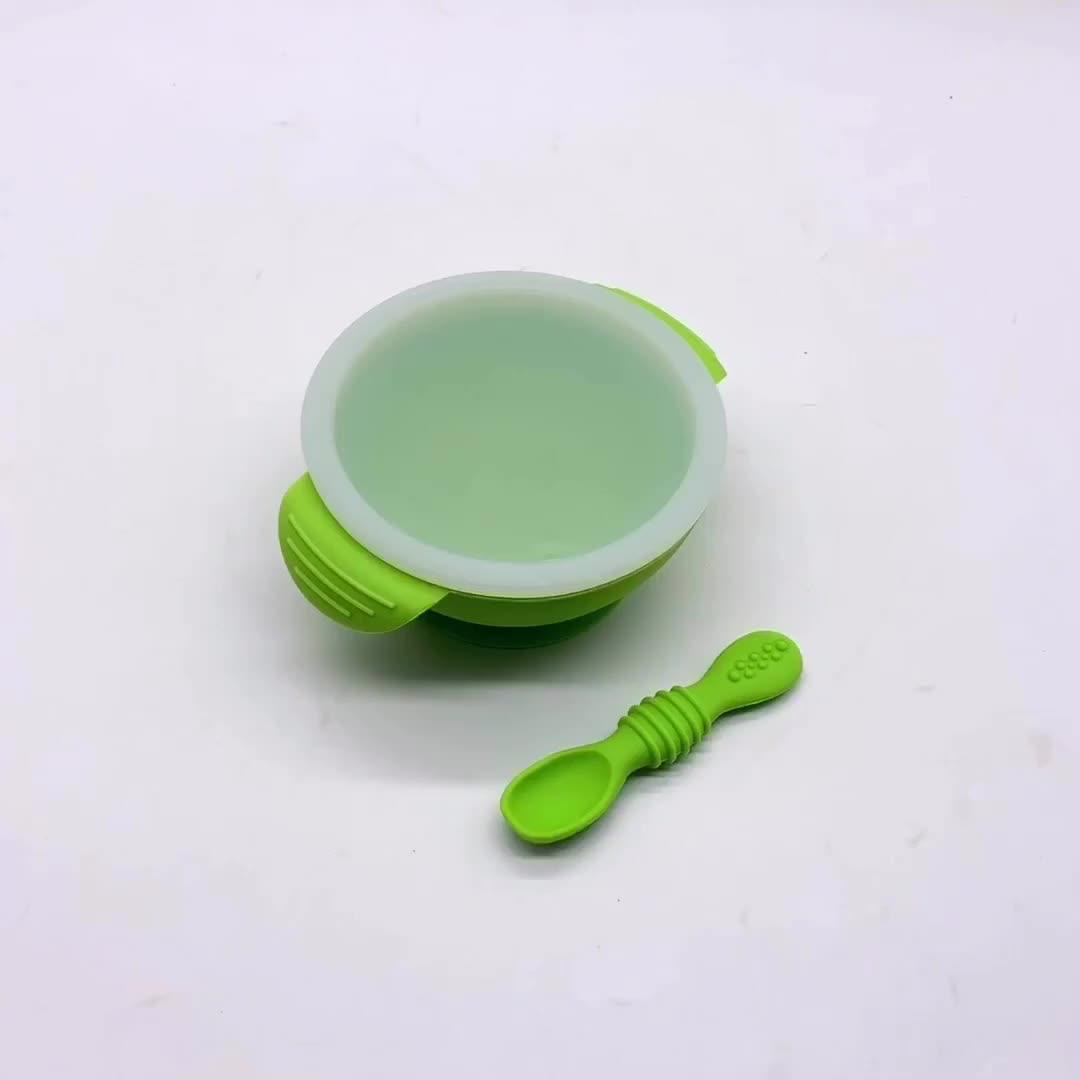 BHD Korting Groothandel Non Slip BPA Gratis Siliconen Babyvoeding Kom met Lepel