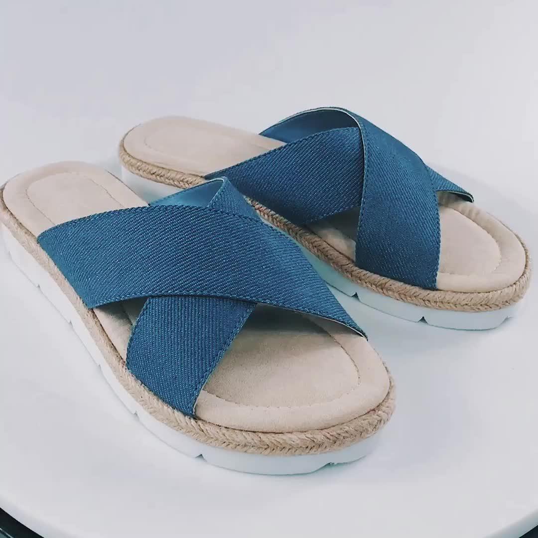 Desain Baru Biru Kain Datar Kanvas Wanita Sandal Sandal