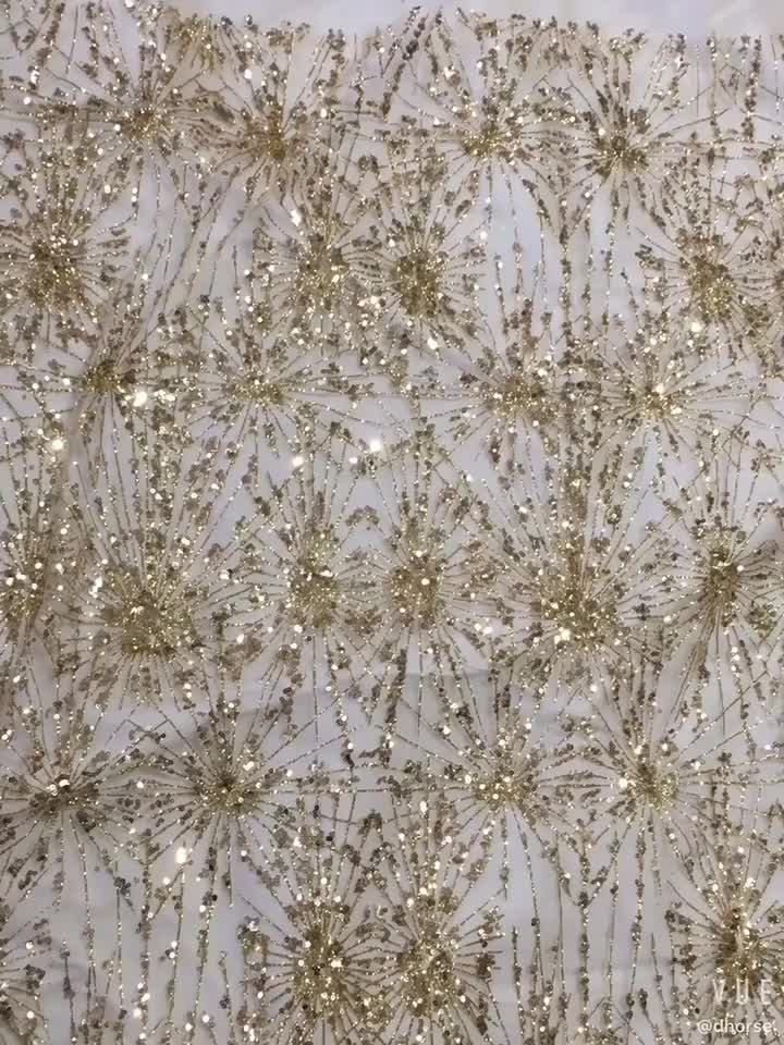 Golden Evening Dress Noble Manual Lace Fabric