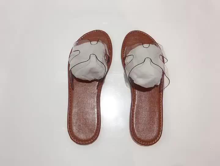 2020 delle donne di estate nuovo trasparente superiore pantofole moda piatto texture leopardo pantofole