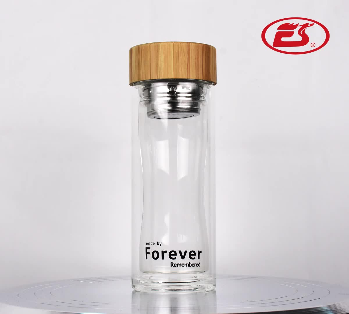 EG501 300ML/10OZ Low moq sexy double wall glass water drinking bottle with bamboo lid