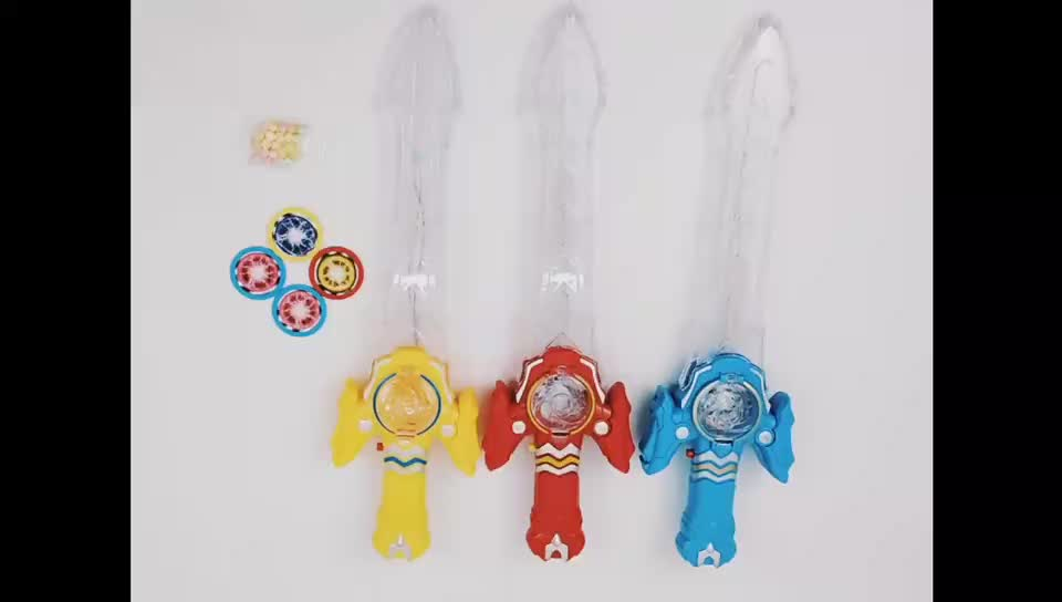 kids funny cartoon led light up plastic sword toy candy with ejector