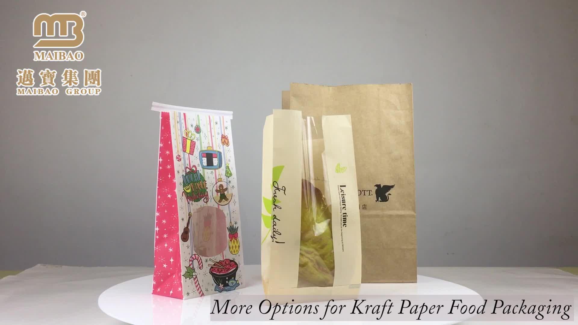 Fábrica Fabricante de Alimentos Padaria Impresso Branco Kraft Sacos De Papel De Embalagem De Pão Com Janela de Plástico