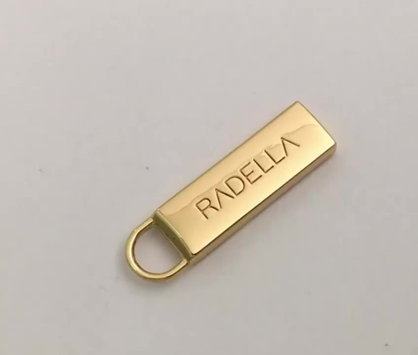 High Quality Gold Engraved Logo Metal Zipper Pull, Profesional Custom Metal Zipper Puller for Handbags