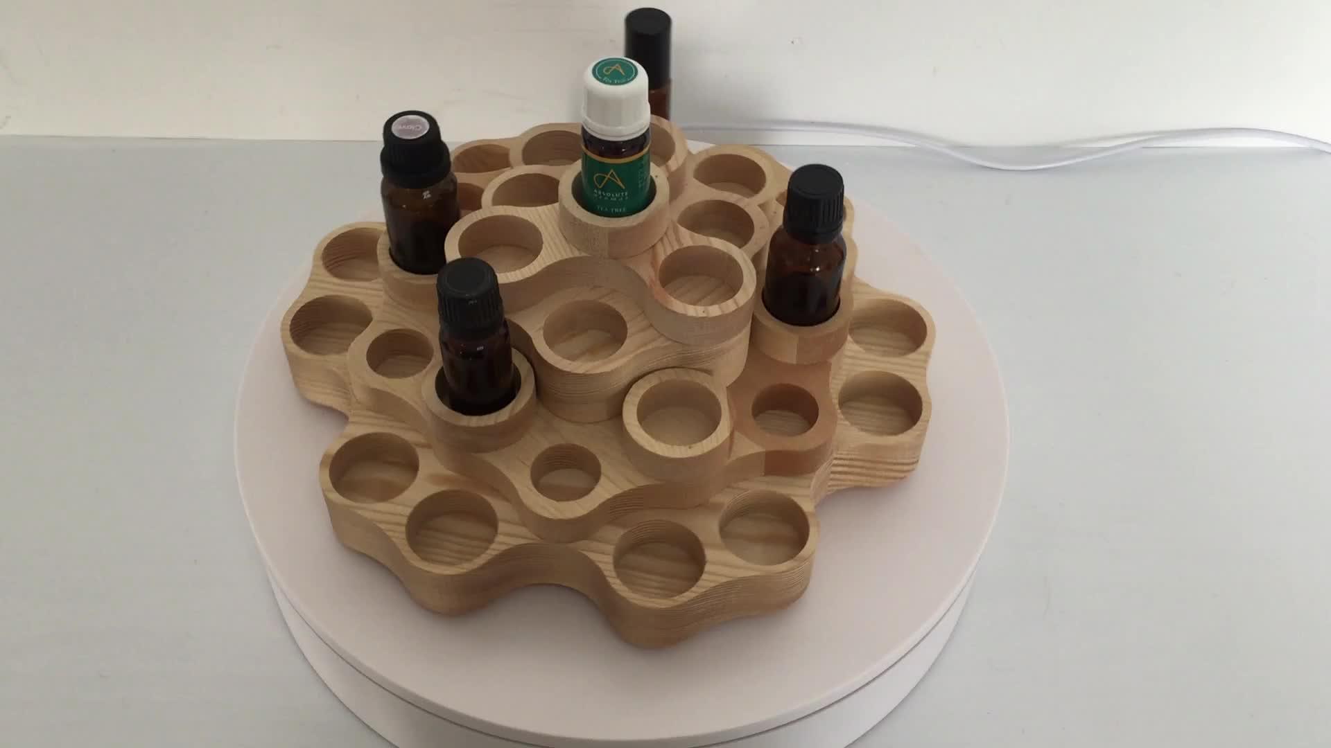 लकड़ी के मामले Aromatherapy प्राकृतिक लकड़ी दौर आवश्यक तेल की बोतलें भंडारण प्रदर्शन रैक आयोजक